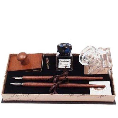 Luxe Schrijfwaren set met glazen Inktpot