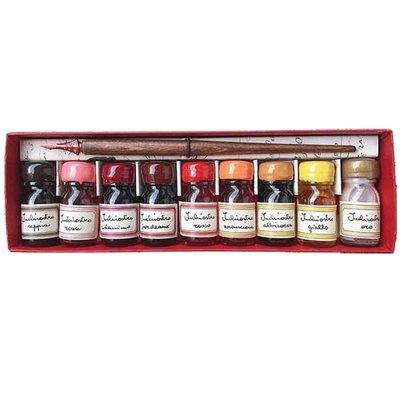 9 flesjes inkt met kroontjes pen, warme kleuren