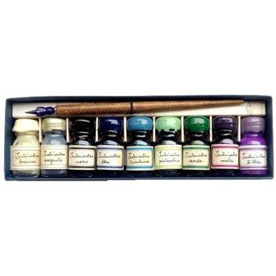 9 flesjes inkt met kroontjes pen, koude kleuren