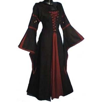 Middeleeuwen Jurk Zwart/Rood