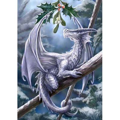 Anne Stokes Kerstkaart Snow Dragon