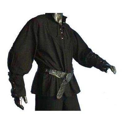 Hemd met gesnoerde mouwen Zwart