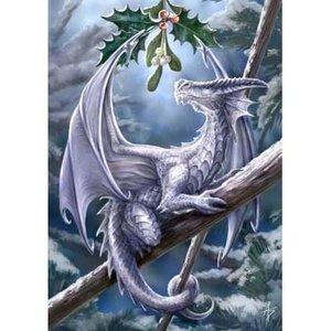 Anne Stokes kerstkaart Snow Dragon